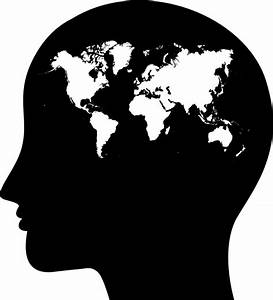 Clipart - Female Head Profile Silhouette World Map