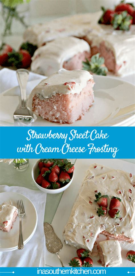strawberry sheet cake with cheese frosting