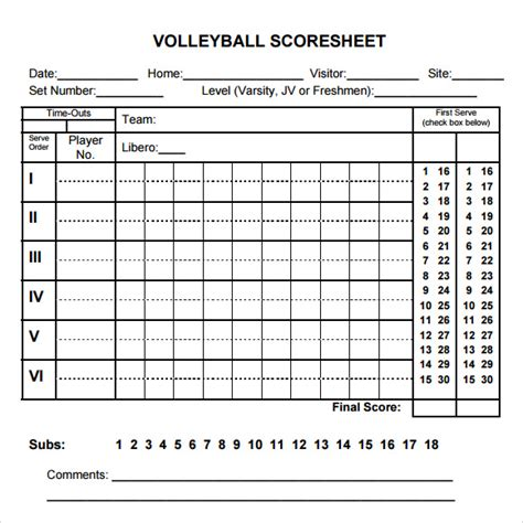 sample volleyball score sheet templates  google