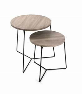 Table Basse Bois Metal : set de 2 tables basses gigognes rondes bois et m tal noir ~ Teatrodelosmanantiales.com Idées de Décoration