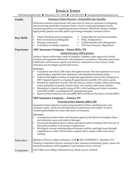 Resume for Insurance Claims Adjuster - Sidemcicek.com