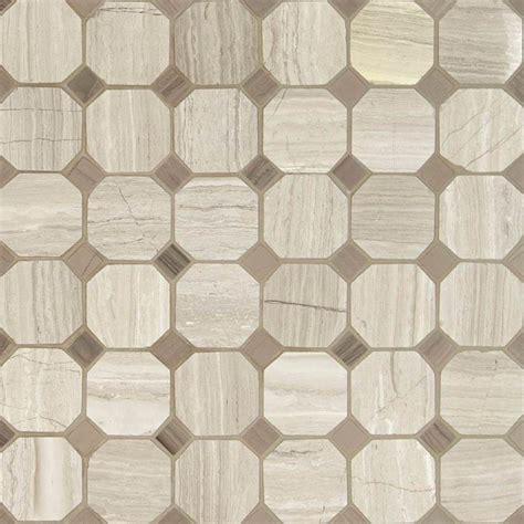 octagon marble floor tile ms international white oak octagon 12 in x 12 in x 10 mm honed marble mesh mounted mosaic tile
