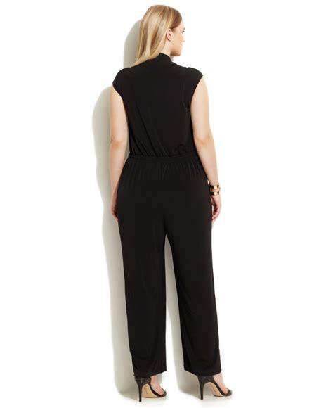 wide leg jumpsuit plus size calvin klein plus size wide leg button front jumpsuit in