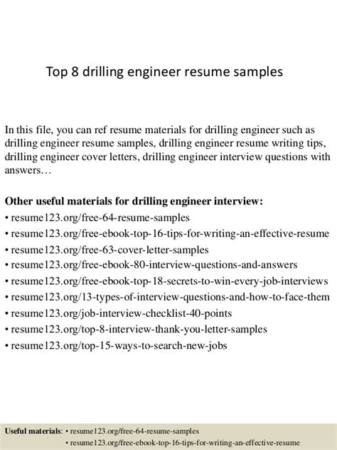Drilling Fluids Engineer Resume Sle by Top 8 Drilling Engineer Resume Sles