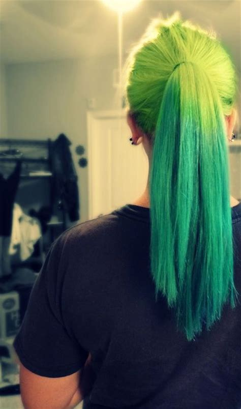 Neon Green Ombre Ponytail Hair Colors I Want