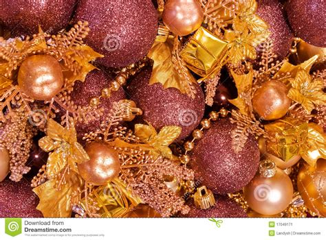 assorted christmas decorations baubles garlands stock