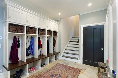 Glamorous cubbies in Entry Contemporary with Garage