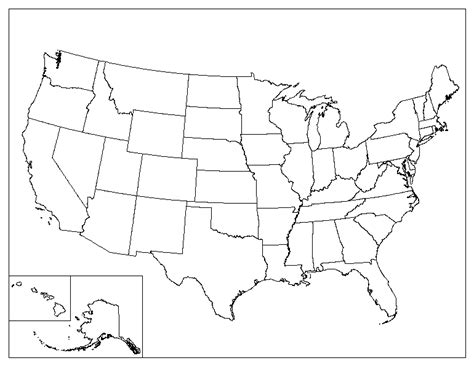 printable blank map   united states
