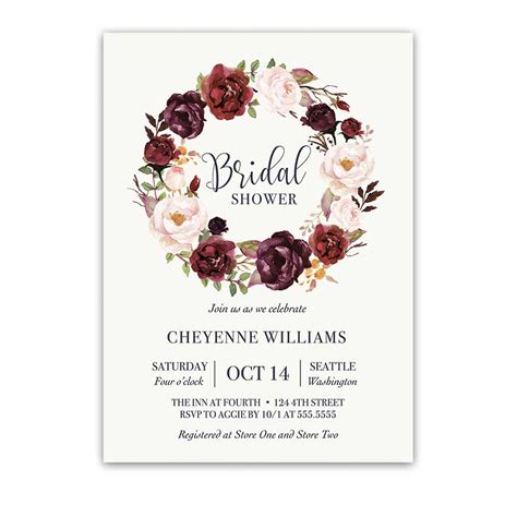 contact paper for kitchen floral wreath bridal shower invitations blush wine
