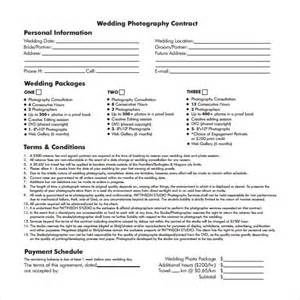 Wedding Photography Contract Template Free