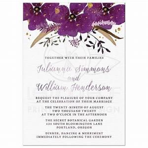 Wedding invitations pretty watercolor violet flowers for Wedding invitation designs violet