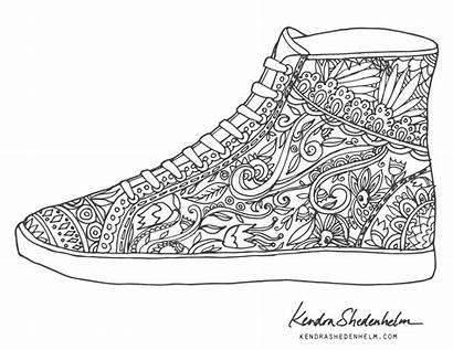 Coloring Pages Shoe Shoes Doodles Birds Adult