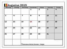 Kalender augustus 2019, België Michel Zbinden nl