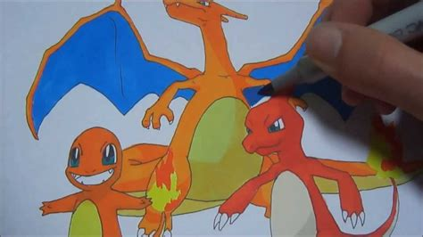 charmander charmeleon  charizard speed draw youtube