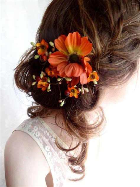 fall wedding hair clip autumn wedding fall flower hair