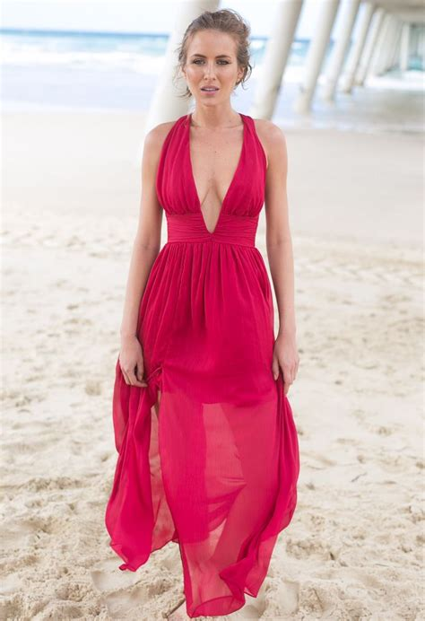 Red Deep V Front Open Back Maxi Dress by Xenia Boutique ...