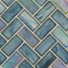 Herringbone Glass Tile  Blue Herringbone Tile