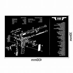 Gun Cleaning Rubber Mat With Parts Diagram Instructions
