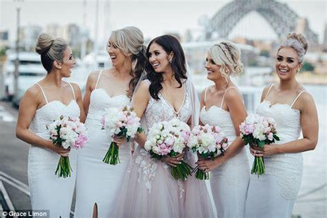 Bride Wears Pink Wedding Dress, Bridesmaids Wear White