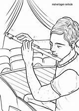 Coloring Flute Instruments Musical Malvorlage Malvorlagen sketch template