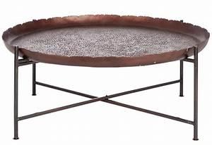 Table Basse Ronde Aluminium : table basse ronde orientale en m tal marron fonc 91x91x35cm j line ~ Teatrodelosmanantiales.com Idées de Décoration