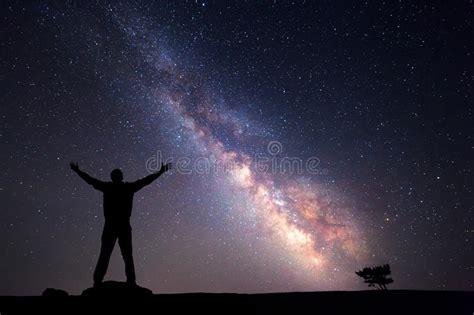 Milky Way Night Sky Silhouette Man Stock Photo