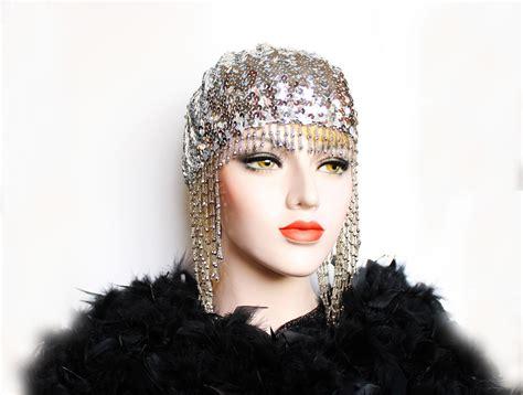 Silver Gold Gatsby Headpiece Roaring 20s Beaded Cap Sequin ...