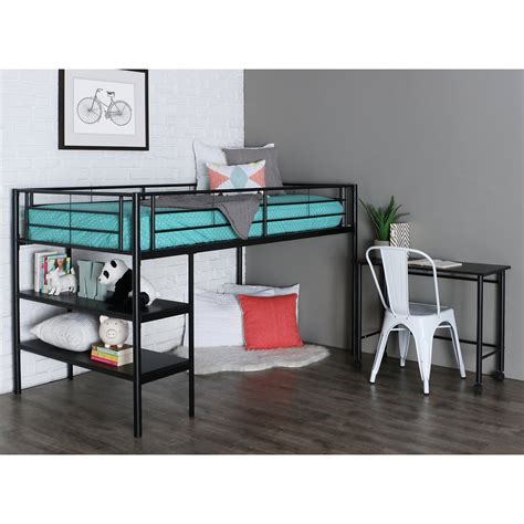 twin loft bed with desk black twin loft bed with desk and shelves bunk beds