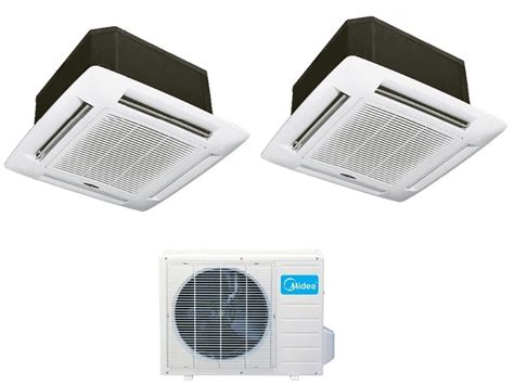 ceiling cassette mini split size midea dual zone 12btu 21 seer cassette mini split heat