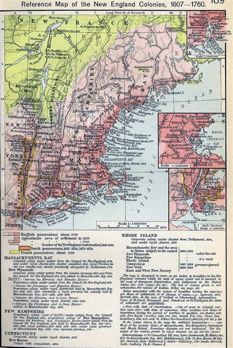 map    england colonies