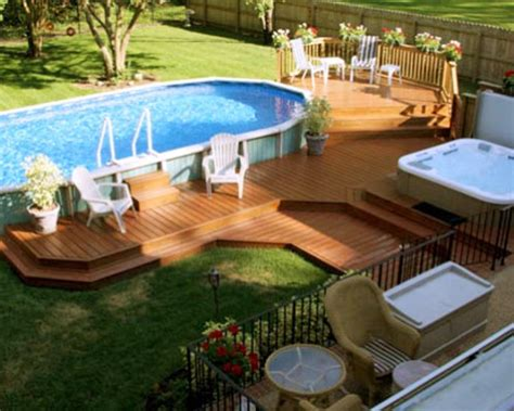 ground pool decks landscape designs