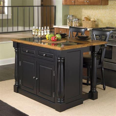 home styles black midcentury kitchen islands  stools