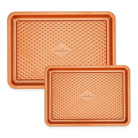 copper chef diamond cookie sheet bakeware nonstick baking sheets piece bed beyond bath tools canada jelly roll bedbathandbeyond