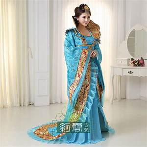 Ancient china dynasty costume adult women blue White red ...