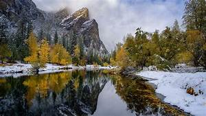 Mountain, Reflection, On, River, During, Fall, Hd, Nature