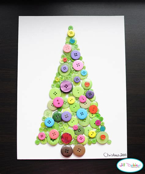 button christmas tree canvas fun family crafts