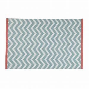 tapis a poils courts en coton vert d39eau 140 x 200 cm wave With tapis de yoga avec canapé convertible vert d eau