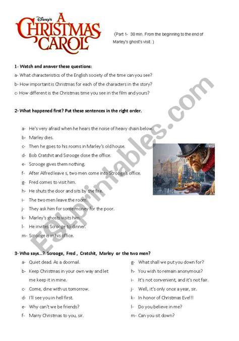 a christmas carol worksheet 1 esl worksheet by inesita76