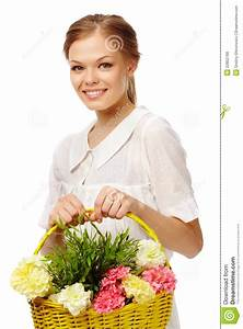 Lady With Flowers Royalty Free Stock Photos