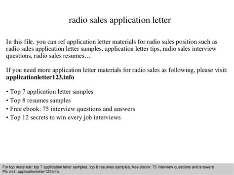 Letter Ads by Radio Sales Application Letter