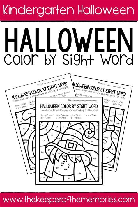 color  sight word halloween kindergarten worksheets
