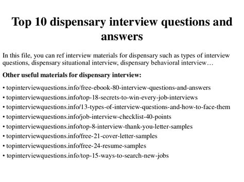 top  dispensary interview questions  answers