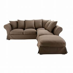 canape d39angle convertible 6 places en coton taupe roma With canapé d angle tissu anti tache