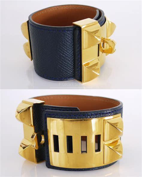 Authentic Hermes Collier De Chien Cuff Bracelet Navy Blue. Colorful Pendant. Jacket Stud Earrings. Baguette Diamond Eternity Band. Colorful Wedding Rings