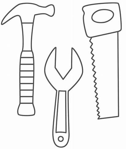 Hammer Coloring Pages Saw Wrench Preschool Tools