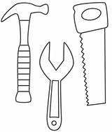 Coloring Wrench Hammer Saw sketch template