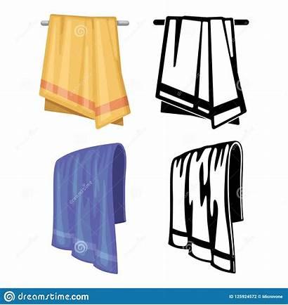 Outline Towels Cartoon Vector Illustration