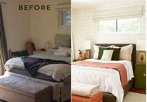 Before and after bedroom makeover with moss and coral for Bedroom makeover