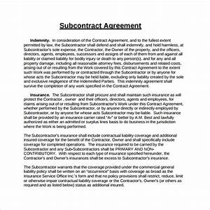 15 sample subcontractor agreements sample templates With standard subcontract agreement template