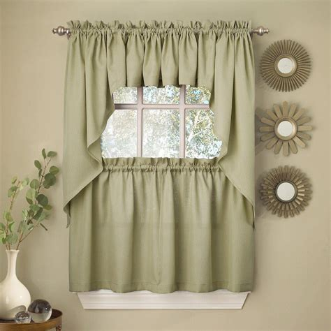 sage solid opaque ribcord kitchen curtains choice
